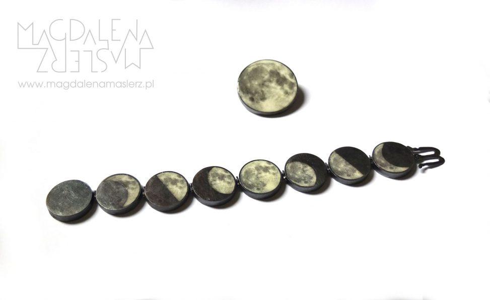 bransoletka i broszka z fazami księżyca