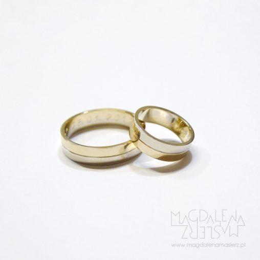 obrączki z dwóch kolorów złota
